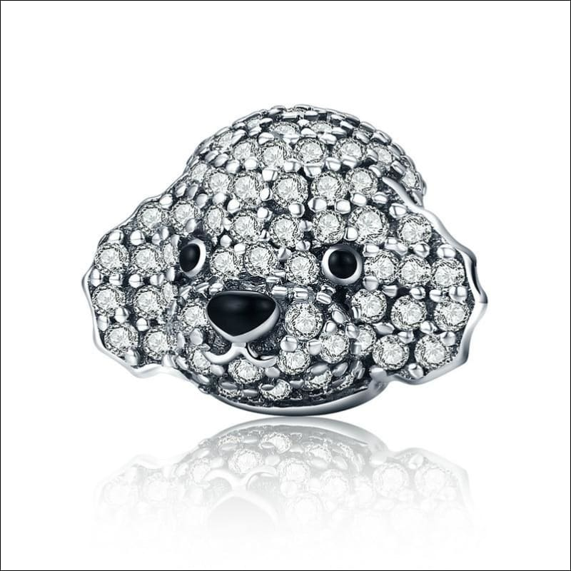 925 Sterling Silver Poodle Cute Puppy And French Bulldog Beads Charm - ECC152 - Beads