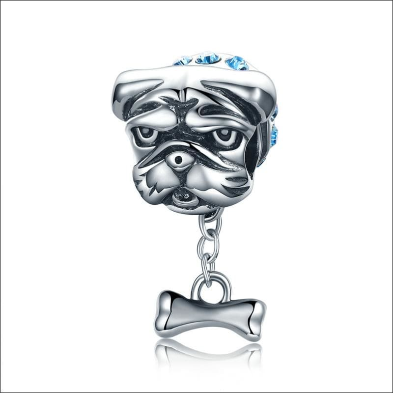 925 Sterling Silver Poodle Cute Puppy And French Bulldog Beads Charm - ECC187 - Beads