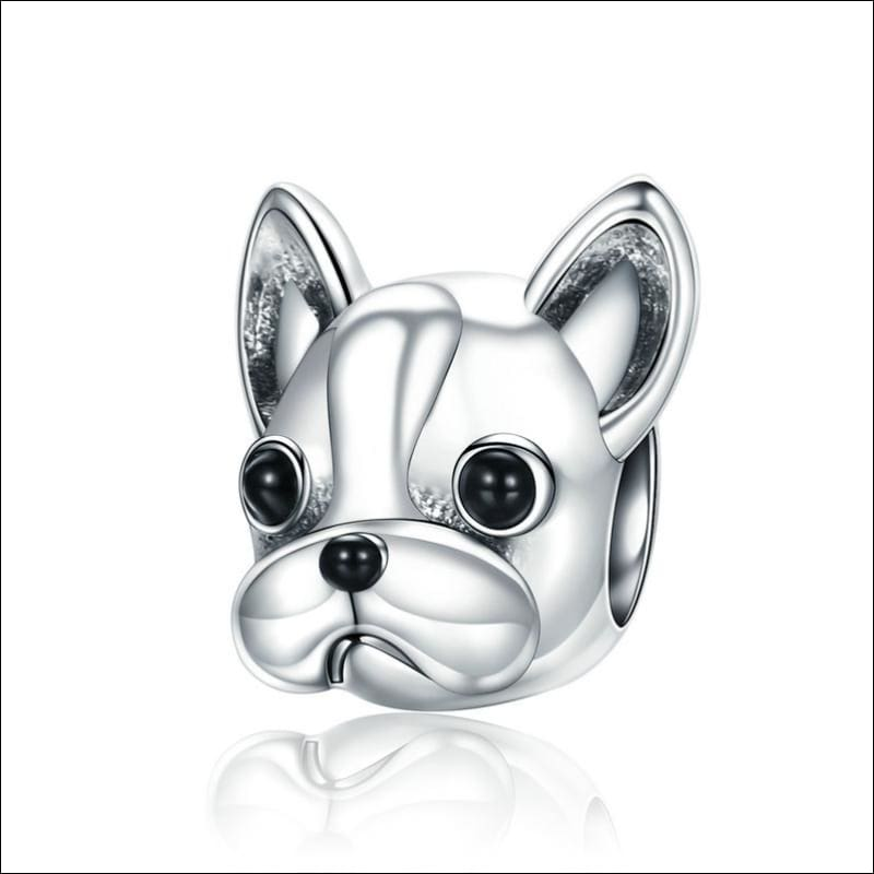 925 Sterling Silver Poodle Cute Puppy And French Bulldog Beads Charm - ECC315 - Beads