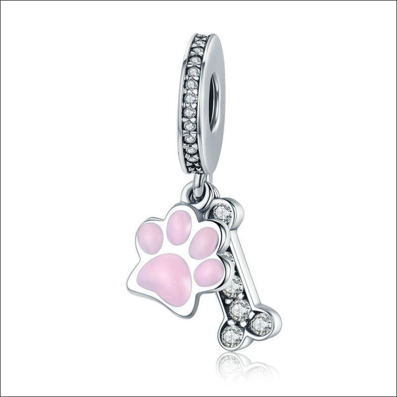 925 Sterling Silver Poodle Cute Puppy And French Bulldog Beads Charm - ECC452 - Beads