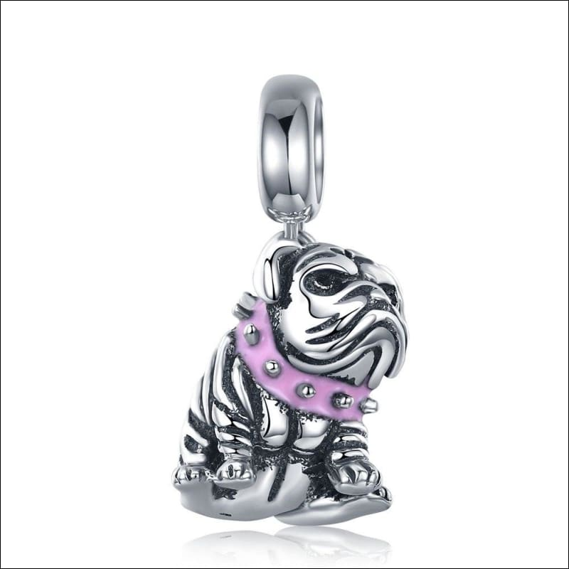 925 Sterling Silver Poodle Cute Puppy And French Bulldog Beads Charm - ECC552 - Beads