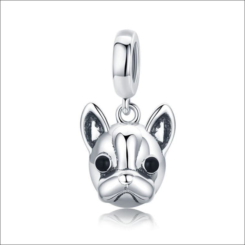 925 Sterling Silver Poodle Cute Puppy And French Bulldog Beads Charm - ECC817 - Beads