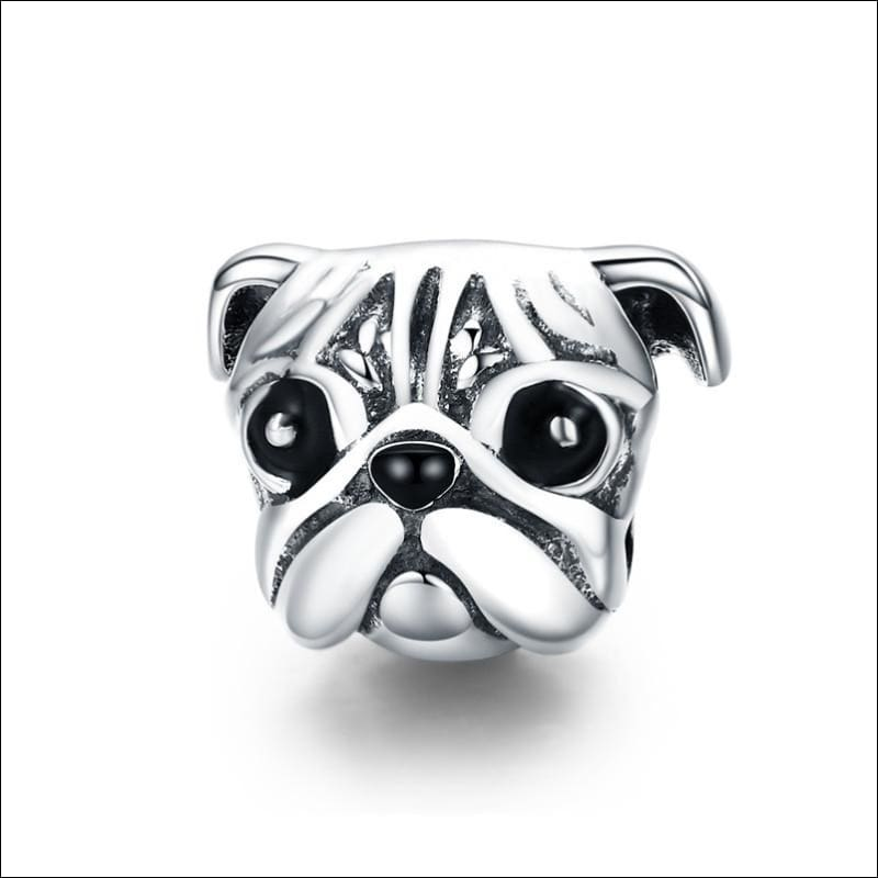925 Sterling Silver Poodle Cute Puppy And French Bulldog Beads Charm - ECC834 - Beads