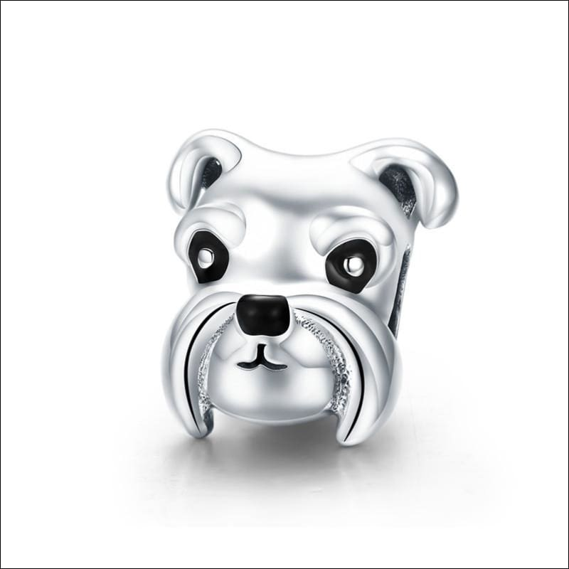 925 Sterling Silver Poodle Cute Puppy And French Bulldog Beads Charm - ECC835 - Beads