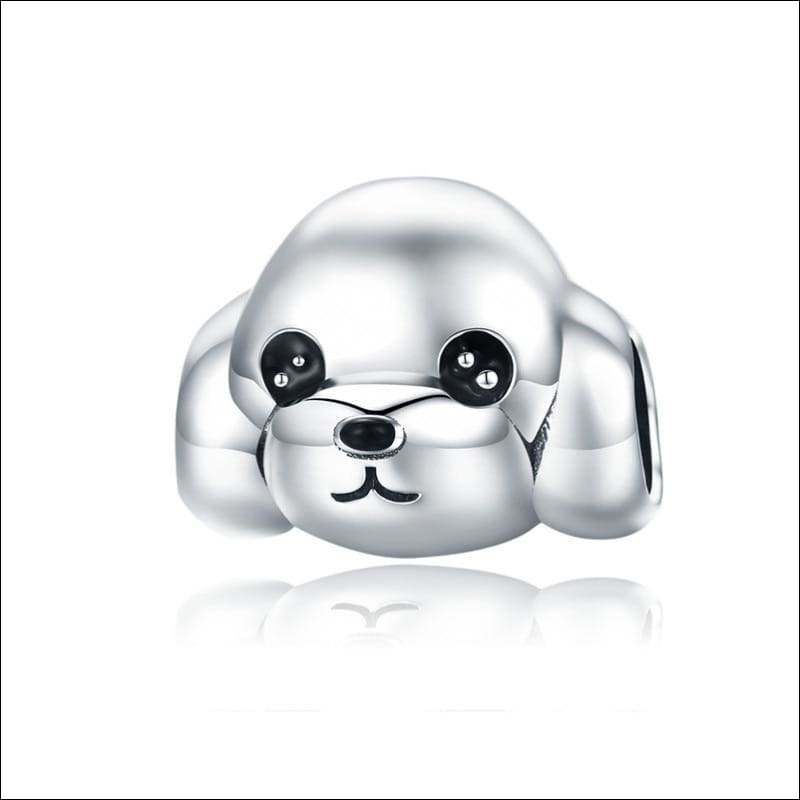 925 Sterling Silver Poodle Cute Puppy And French Bulldog Beads Charm - ECC837 - Beads
