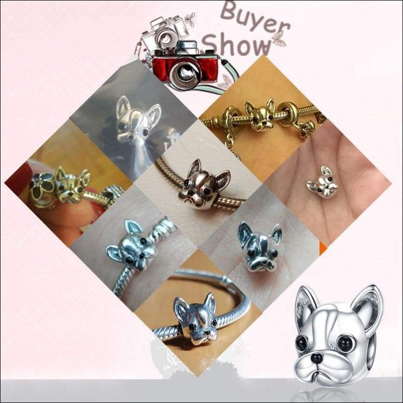 925 Sterling Silver Poodle Cute Puppy And French Bulldog Beads Charm - Beads