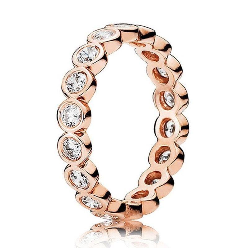 925 Sterling Silver Rose Gold Timeless Elegant Rings - 6 / 9 - Rings