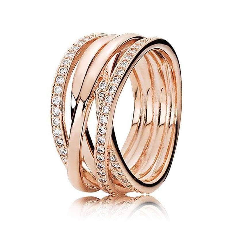 925 Sterling Silver Rose Gold Timeless Elegant Rings - 6 / 6 - Rings