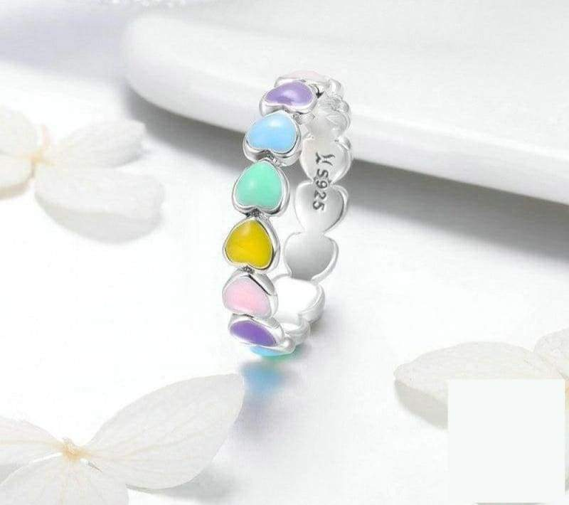925 Sterling Silver Stackable Rainbow Heart Finger Rings - 7 - Engagement Rings
