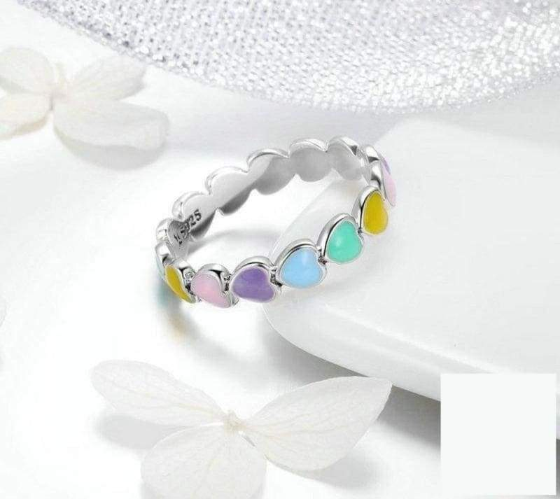 925 Sterling Silver Stackable Rainbow Heart Finger Rings - 8 - Engagement Rings