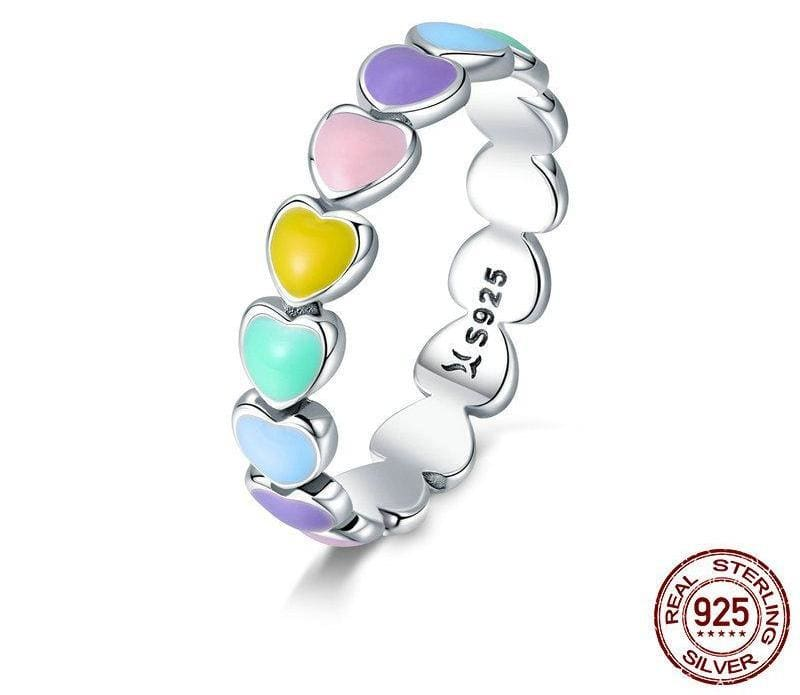 925 Sterling Silver Stackable Rainbow Heart Finger Rings - 6 - Engagement Rings