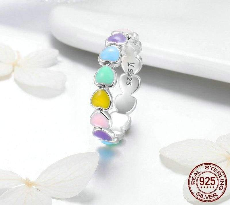 925 Sterling Silver Stackable Rainbow Heart Finger Rings - Engagement Rings