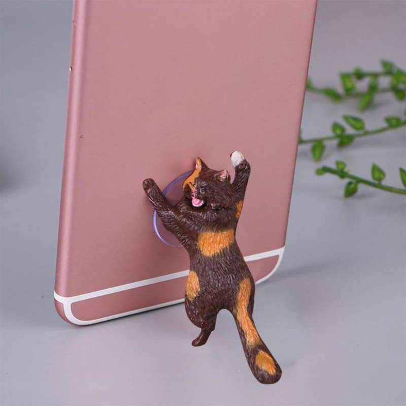 Adorable Phone Stand Cat Just For You - brown orange - Mobile Phone Holders & Stands