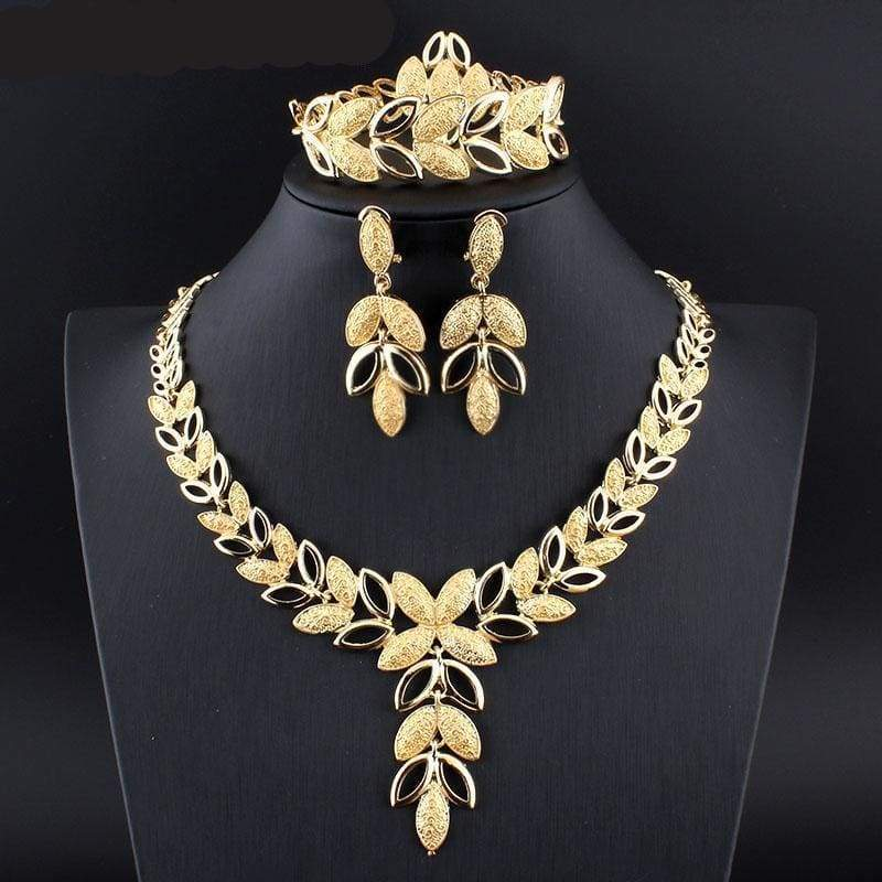 African Necklace Earrings Bracelet Set - 2 - Bridal Jewelry Sets