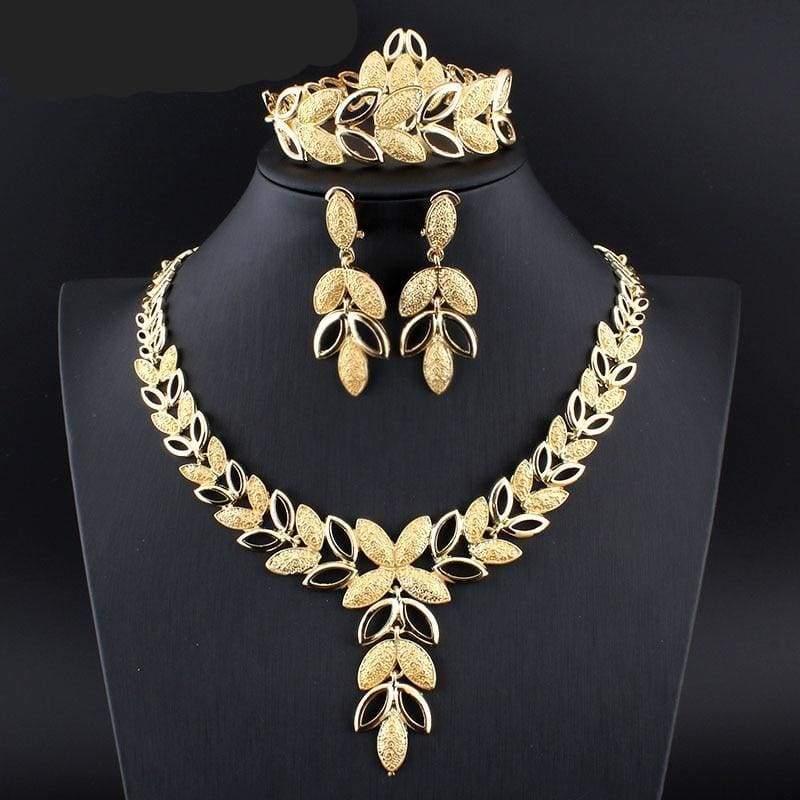 African Necklace Earrings Bracelet Set - Bridal Jewelry Sets