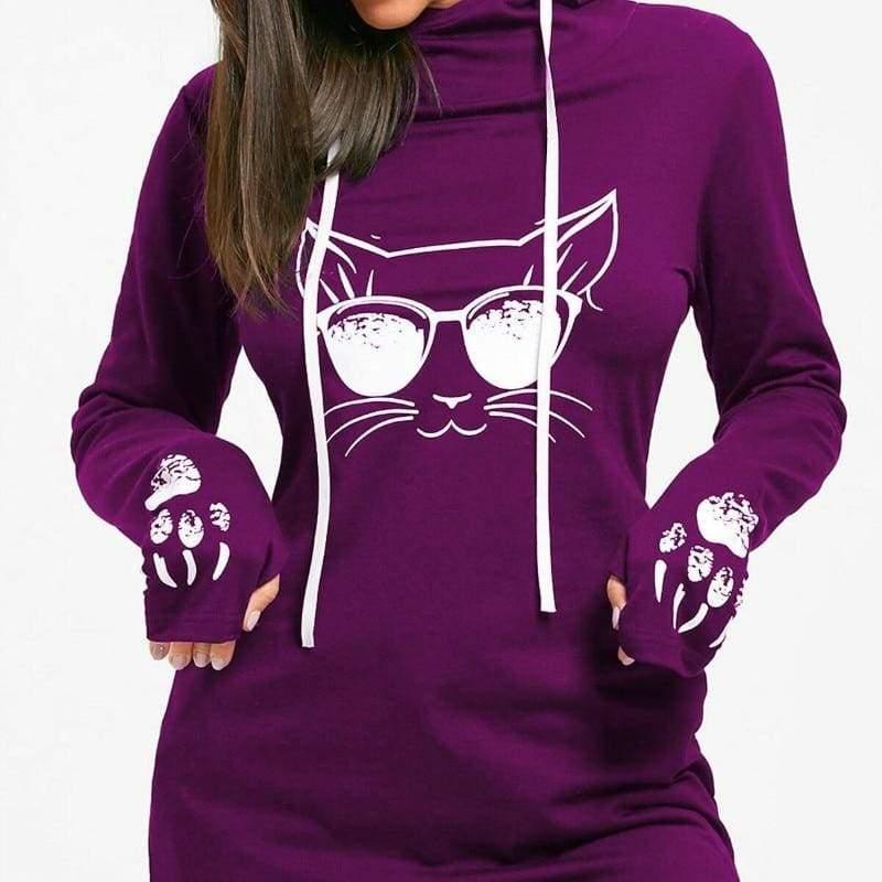 Amazing Cat Printed Hoodie - Hoodies & Sweatshirts