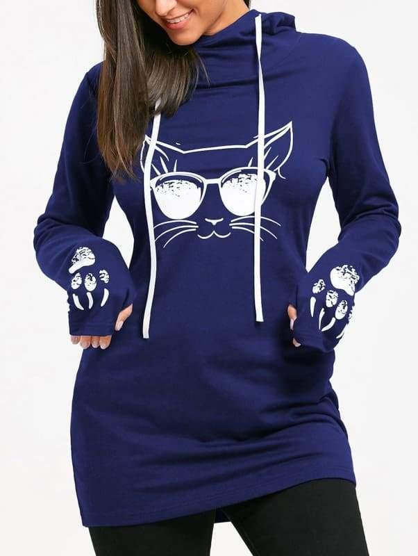 Amazing Cat Printed Hoodie - navy blue / L - Hoodies & Sweatshirts