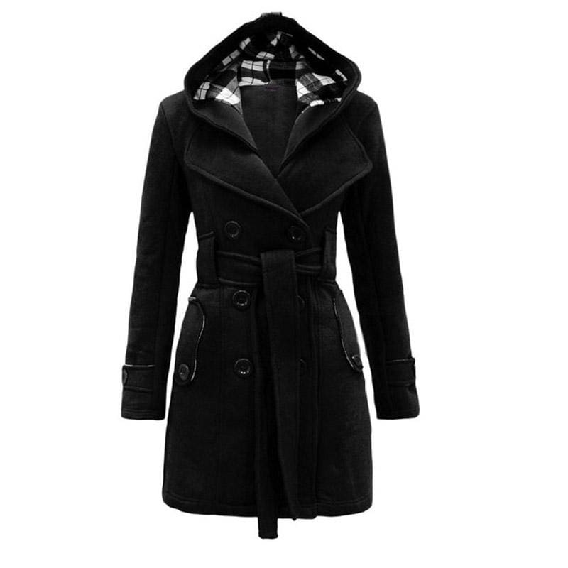 Amazing Double Breasted Hooded Coat - Wool & Blends