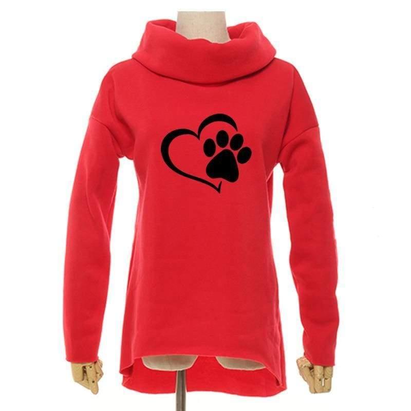 Amazing Heart Paw Sweatshirts - Red / XXL - Hoodies & Sweatshirts