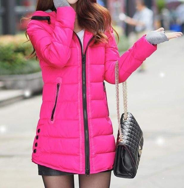 Amazing Hooded Warm Coat - rose red / XXL - Parkas