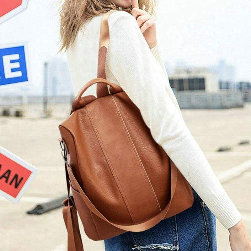 Anti-Theft Backpack - Brown / 32X31X15cm - Backpacks