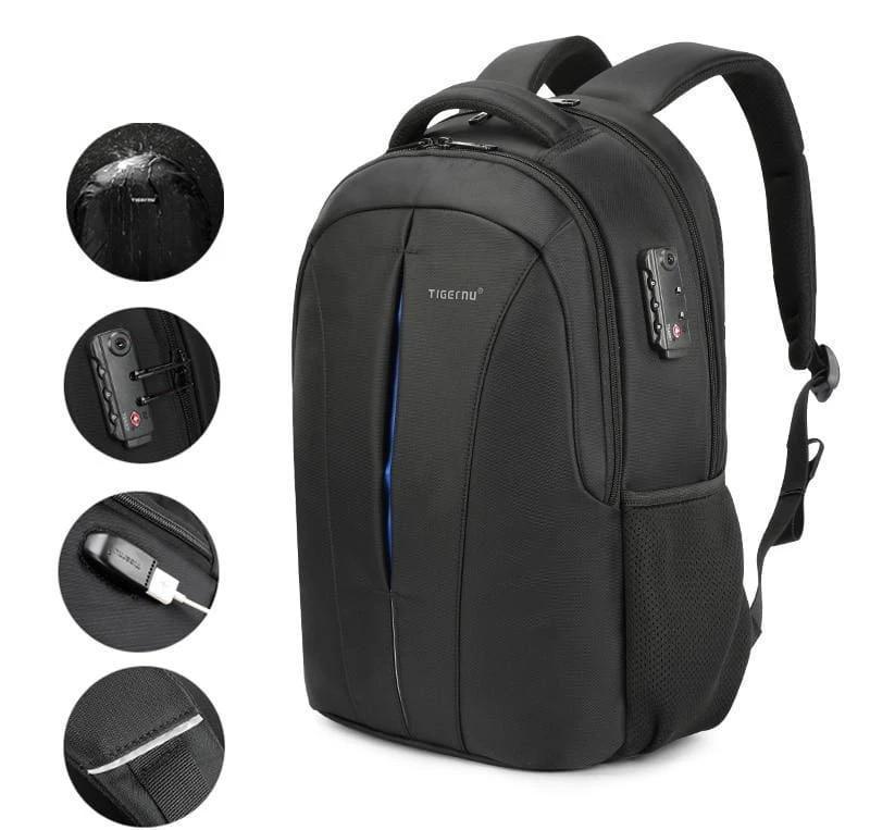 Anti Theft Laptop Backpack Splash Proof Just For You - Black Blue upgrade - Backpacks1