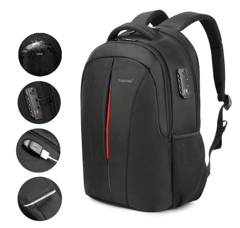 Anti Theft Laptop Backpack Splash Proof Just For You - Black orange upgrade - Backpacks1