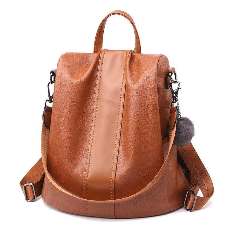 Anti-thief Backpack Just For You - Brown / 31x30x15cm - Backpacks