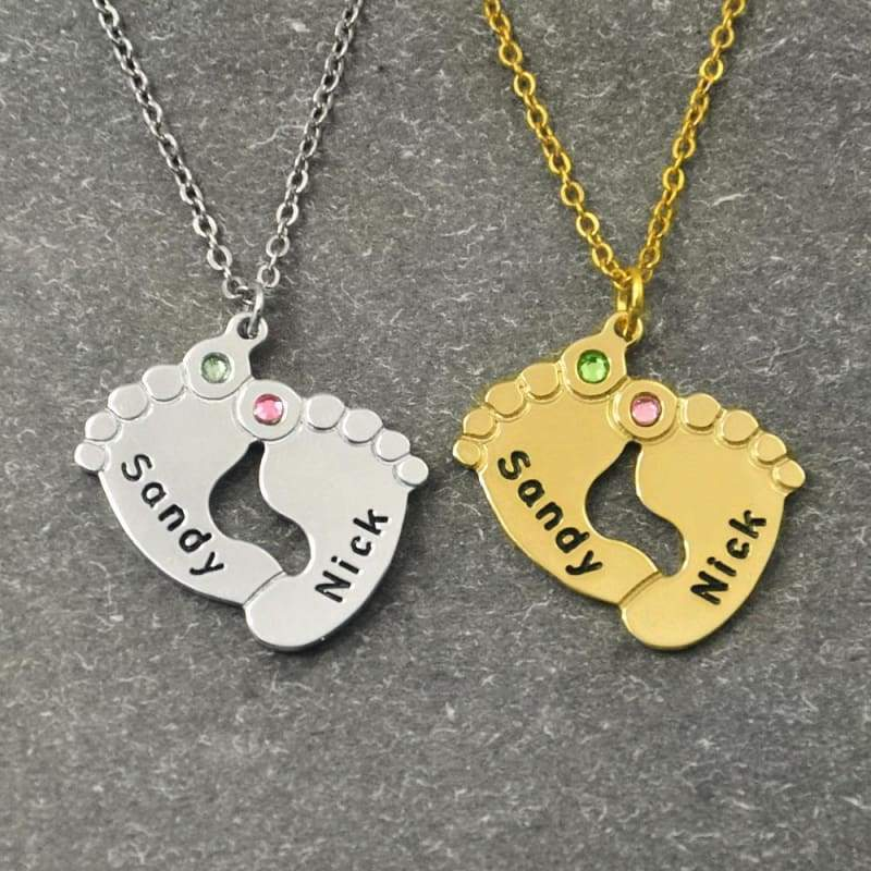 Baby Feet Necklace with Birthstone - Gold color / 16 inches - Pendant Necklaces