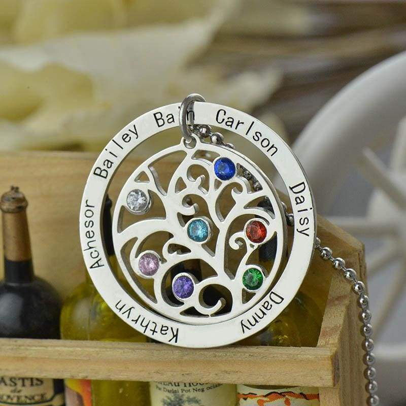 Birthstone Family Tree Necklace - Silver Plated - Pendant Necklaces