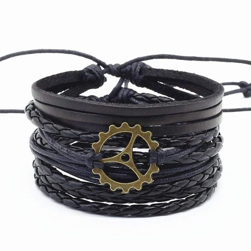 Bronze Alloy Charm Leather Bracelet - Charm Bracelets