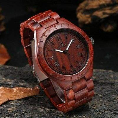Casual Bamboo Wood Watch - Red - Quartz Watches