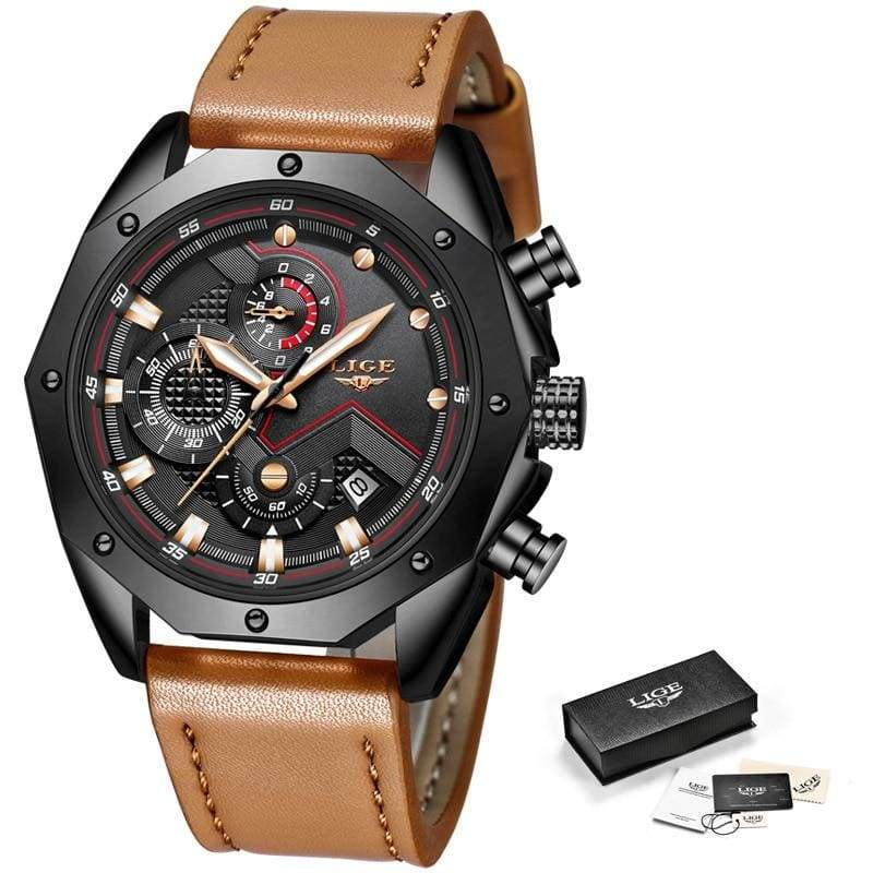 Casual Leather Military Waterproof Sports Watch - Black Rose gold - Quartz Watches