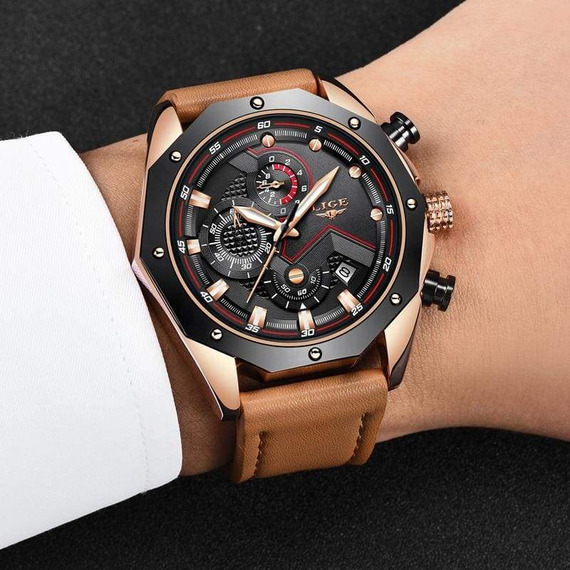 Casual Leather Military Waterproof Sports Watch - Quartz Watches