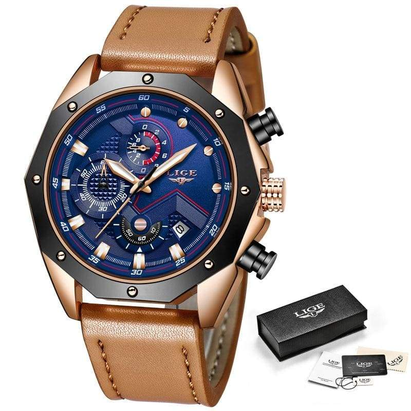 Casual Leather Military Waterproof Sports Watch - Rose gold blue - Quartz Watches