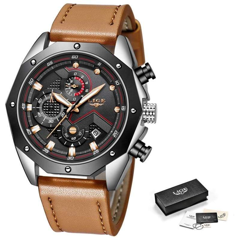 Casual Leather Military Waterproof Sports Watch - silver black - Quartz Watches