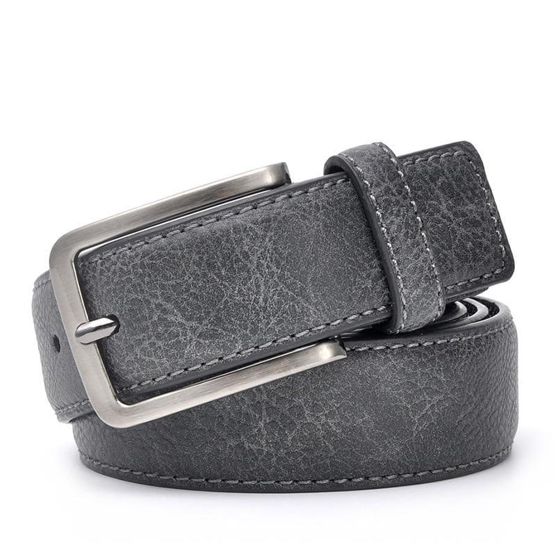 Casual Men Leather Belt - BlackGrey / 100cm 32to35 Inch - Mens Belts