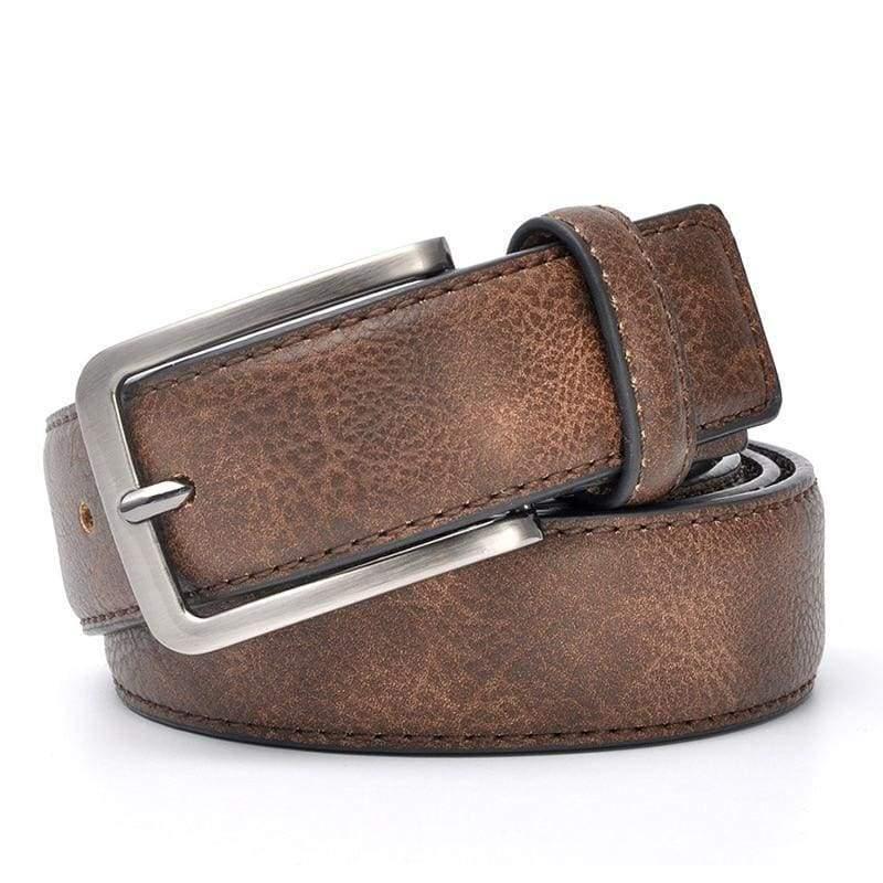 Casual Men Leather Belt - DarkBrown / 100cm 32to35 Inch - Mens Belts