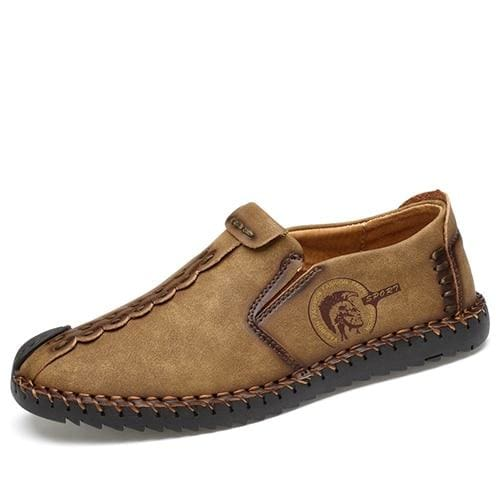 Casual Shoes Loafers Men Shoes - Khaki 01 / 6.5 - Leather Shoes