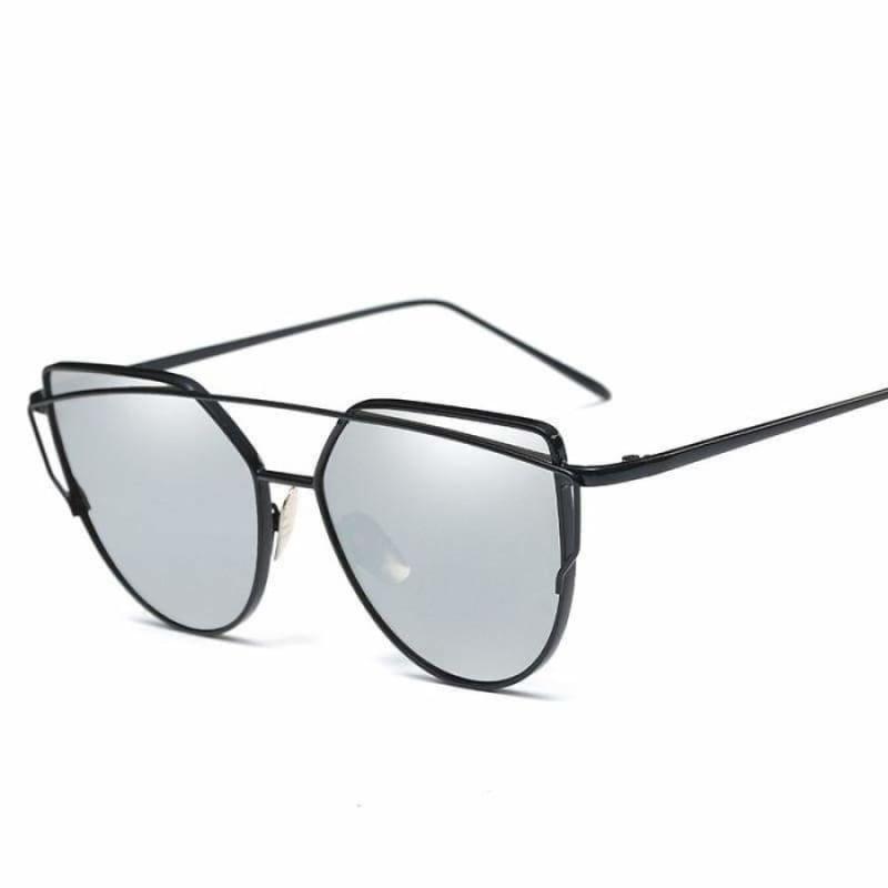 Cat Eye vintage Sunglasses - 6627 black silver - Sunglasses