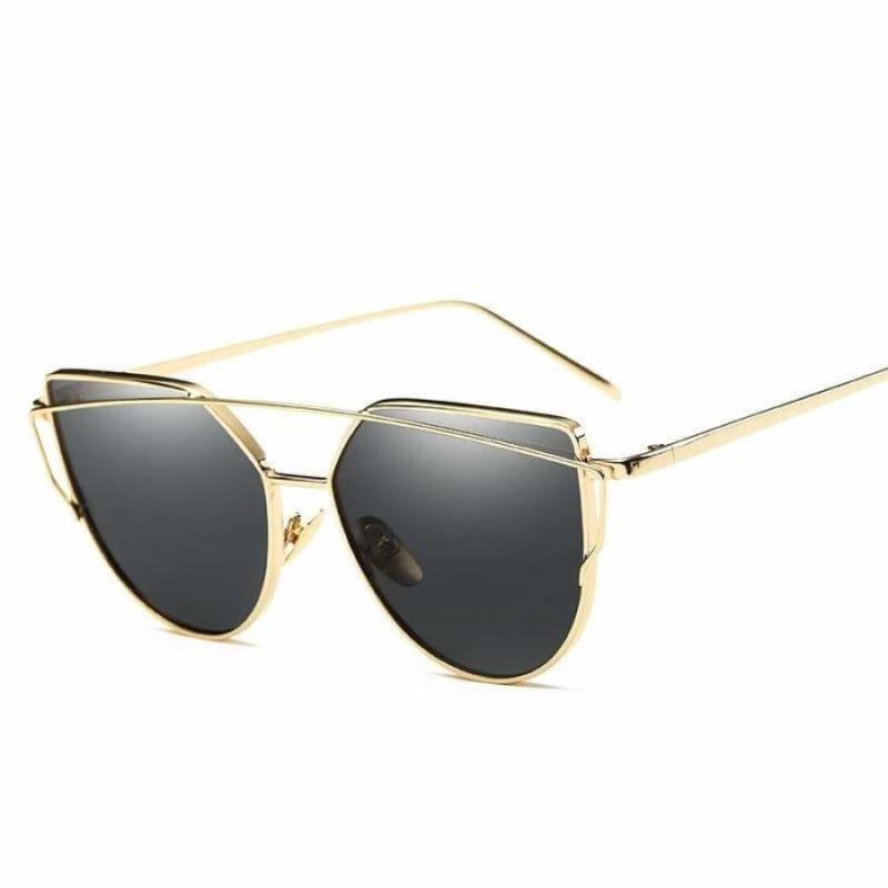 Cat Eye vintage Sunglasses - 6627 gold black - Sunglasses