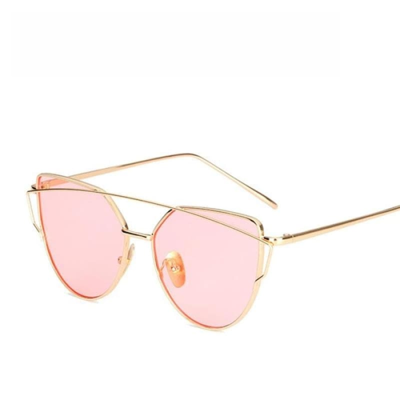Cat Eye vintage Sunglasses - 6627 gold pink O - Sunglasses