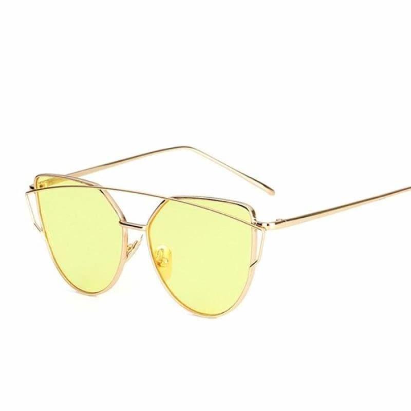 Cat Eye vintage Sunglasses - 6627 gold yellow O - Sunglasses