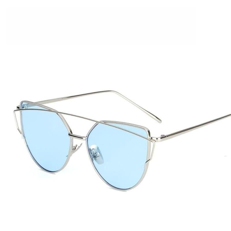 Cat Eye vintage Sunglasses - 6627 silver blue O - Sunglasses