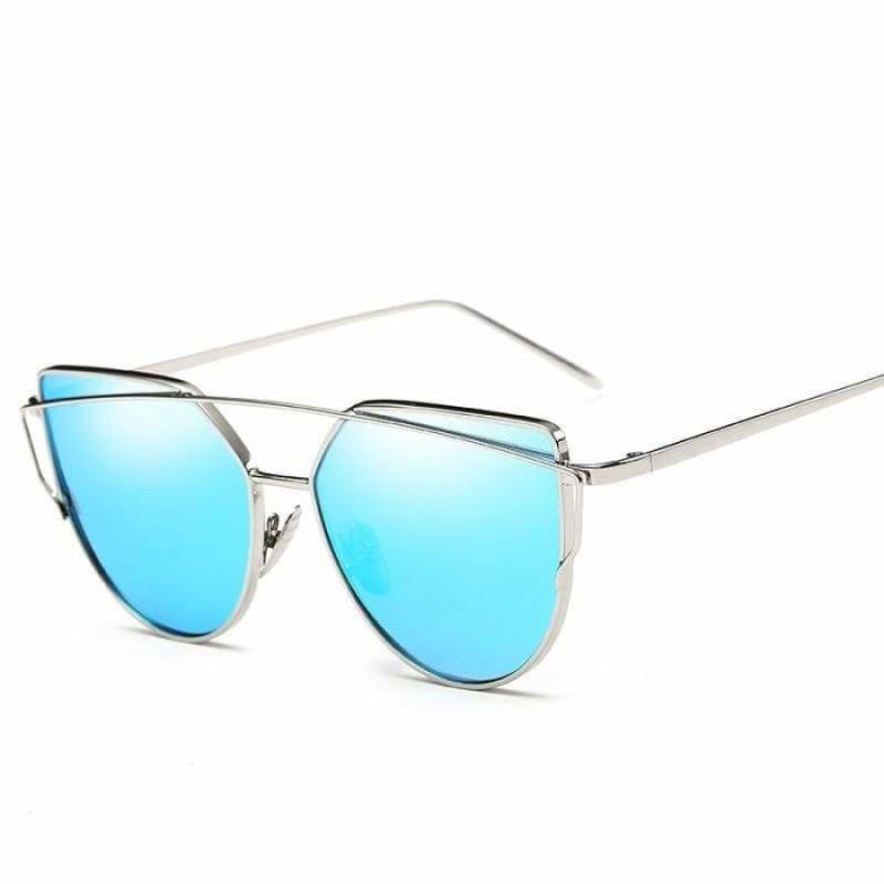 Cat Eye vintage Sunglasses - 6627 silver blue - Sunglasses