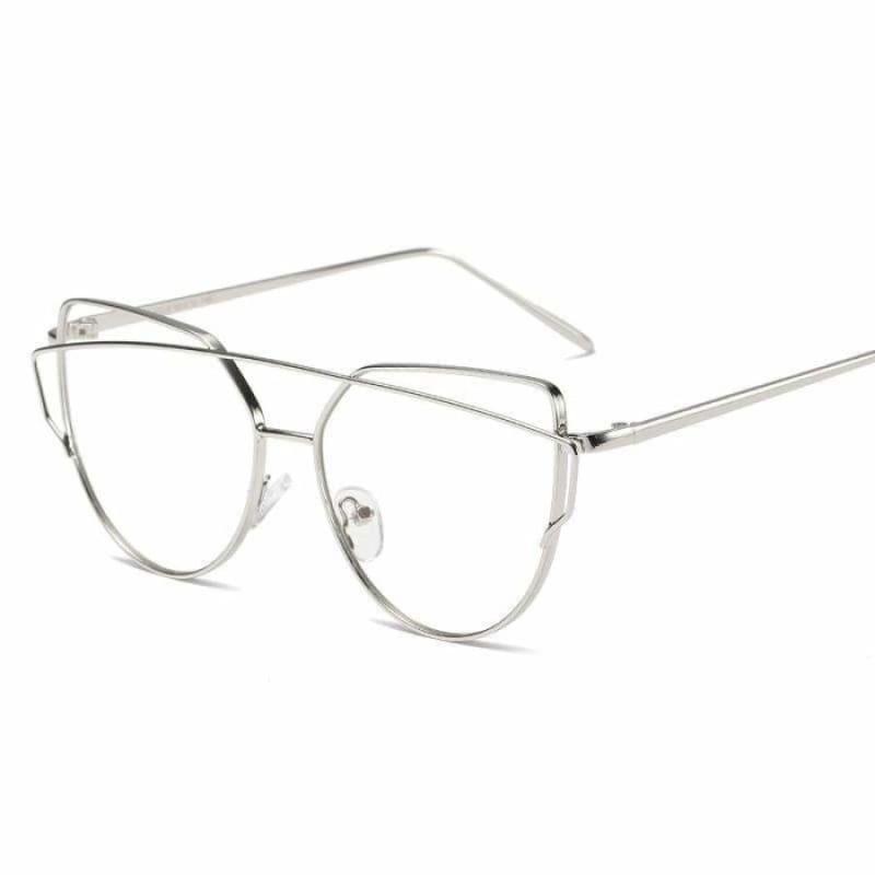 Cat Eye vintage Sunglasses - 6627 silver clear - Sunglasses