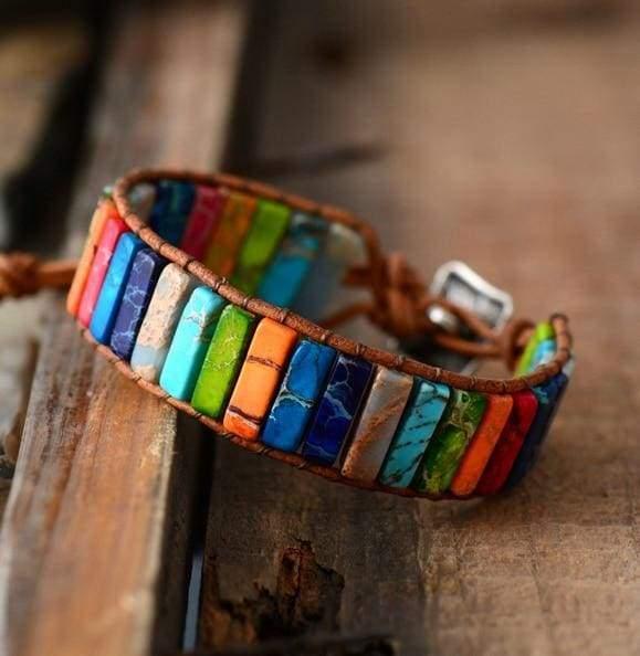 Chakra Bracelet Multi Color Natural Stone - Man Size - Strand Bracelets