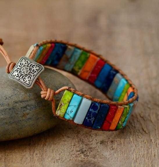 Chakra Bracelet Multi Color Natural Stone - Strand Bracelets