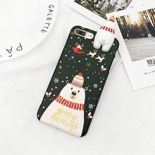 Christmas Snowman Phone Case - Dark Green / For iPhone 6Plus 6SP - Fitted Cases