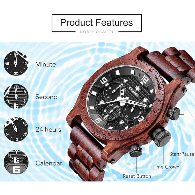 Chronograph Men Sports Wooden Watches - Quartz Watches